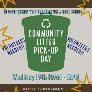 Flyer graphic of a green trashcan with yellow starbursts announcing the Community Litter Pick Up Day